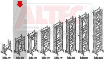 ALTEC Rollfix 400, Arbeitshöhe 4 m neu, inkl. Rollen, Fahrtraverse und Wandanker, TÜV-geprüft