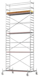 Hymer Fahrgerüst, Aluminium, mit Fahrtraverse, Arbeitshöhe 6,60 m, Standhöhe 4,60 m, Gerüsthöhe 5,60 m, Gesamtgewicht 224,4 kg -